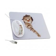 Мышь с ковриком «Кошка и мышка»