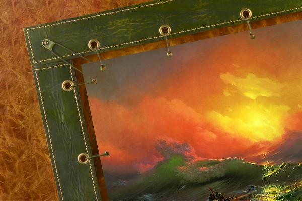 Картина из кожи Девятый вал И. Айвазовский (прямоугольная)
