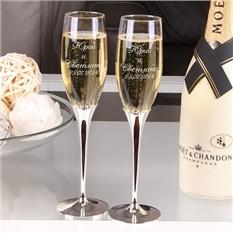 Набор бокалов для шампанского Crystal, с гравировкой