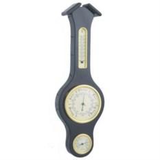 Черная метеостанция с барометром, термометром и гигрометром
