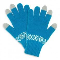 Голубые сенсорные перчатки с узором