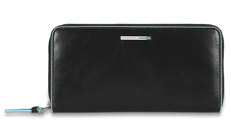 Женское черное портмоне на молнии Piquadro Blue Square