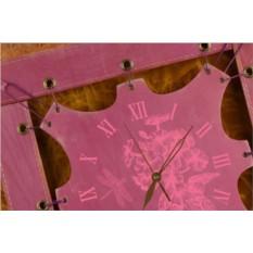 Часы из кожи Цветущий сад (сиреневый, квадратная рама)
