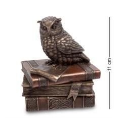 Шкатулка Мудрая сова на книгах (цвет — бронзовый)