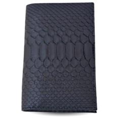 Черная обложка для паспорта и автодокументов из кожи питона