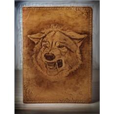Обложка для паспорта кожаная Волк