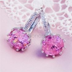 Серьги с розовым цирконием Аврора