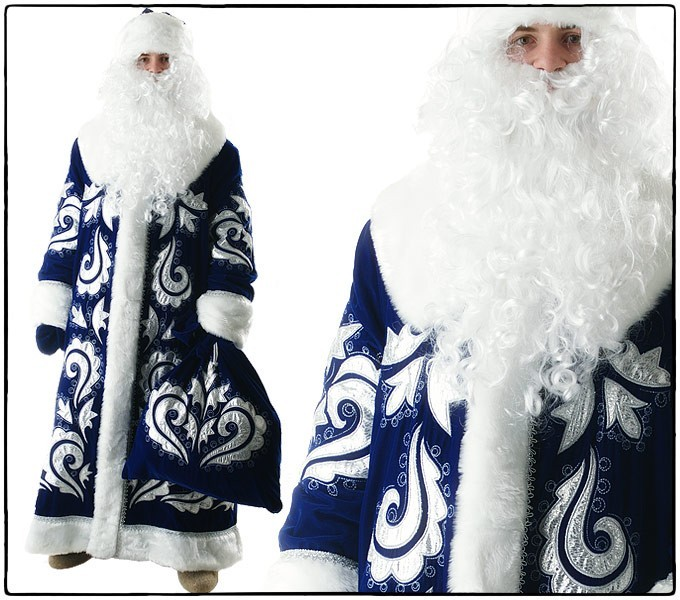 Костюм Дед Мороз, боярский синий бархат с вышивкой