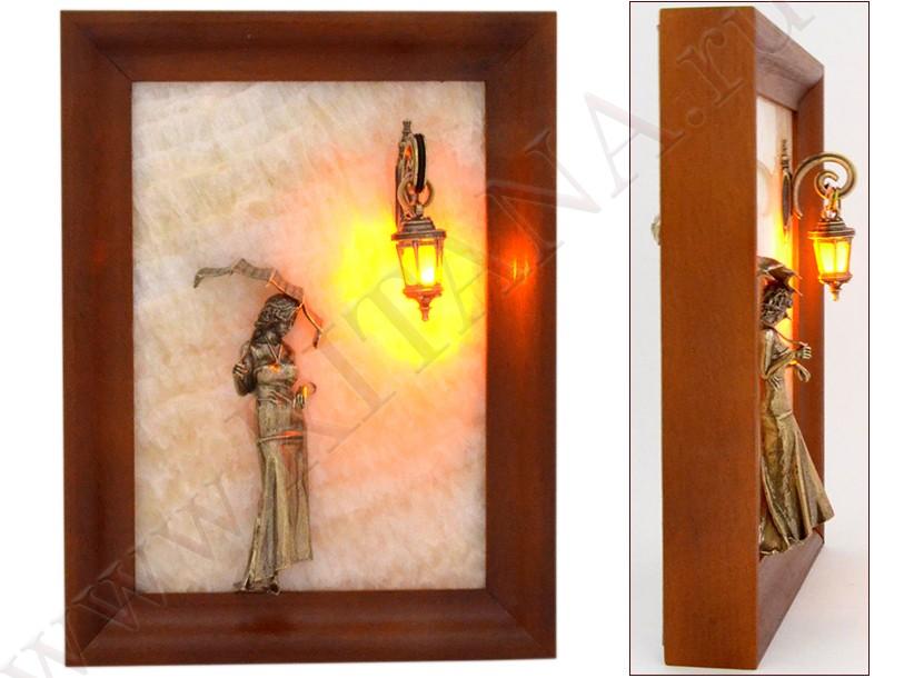 Картина из оникса Девушка с зонтом с подсветкой