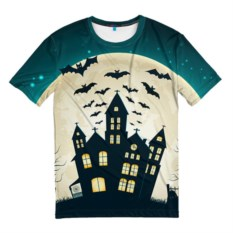 Мужская 3D футболка Хэллоуин. Замок
