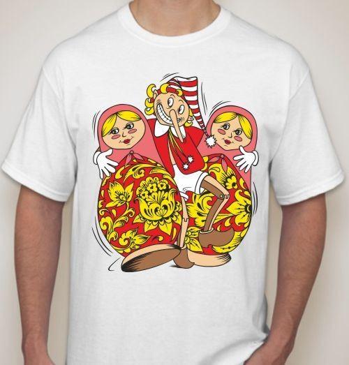 Мужская футболка Буратино с матрешками