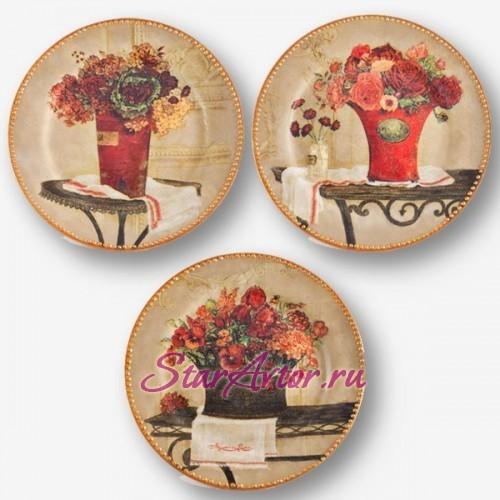 Интерьерная тарелка  ручной работы Триптих Солнце в доме