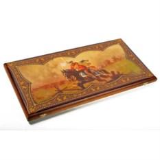 Средние нарды в деревянном коробе Гусарские