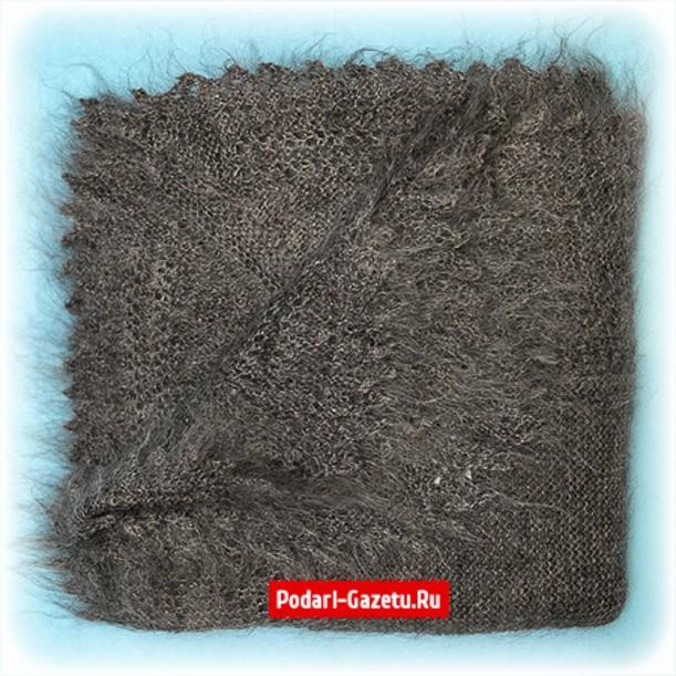 Темно-серый Оренбургский пуховый платок плотной вязки