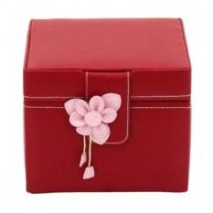 Красная шкатулка для драгоценностей с цветком Champ