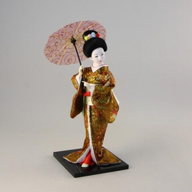 Статуэтка Гейша с зонтиком в оливковом кимоно