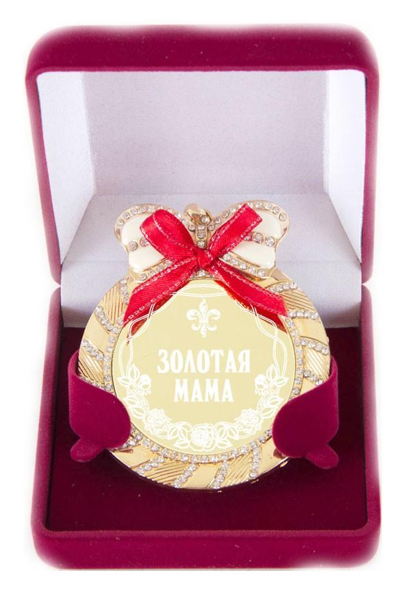 Медаль на цепочке с бантом и стразами Золотая мама