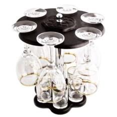 Мини-бар из 12 предметов с бокалами и рюмками