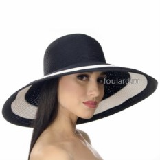 Черная широкополая пляжная шляпа Del Mare