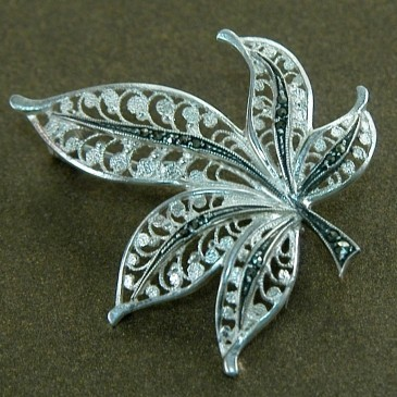 Серебряная брошь «Лист филигранный»