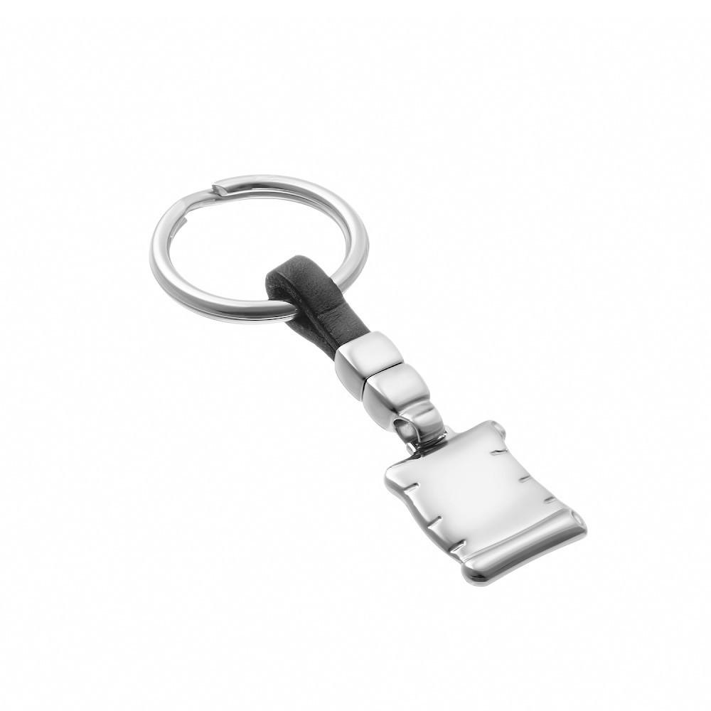 Серебряный брелок для ключей с черной кожей