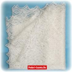 Молочный Оренбургский пуховый платок ручной работы