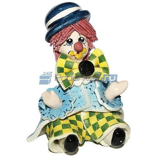 Скульптура Сидящий клоун в синей шляпе