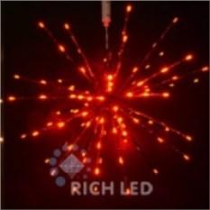 Красная светодиодная гирлянда Ежик (диаметр 30 см)