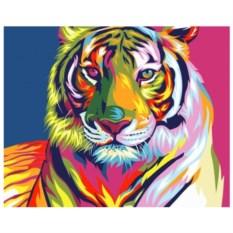 Картина-раскраска по номерам на холсте Радужный тигр
