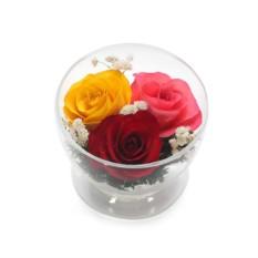Цветы в стекле: Композиция из жёлтых, красных и розовых роз