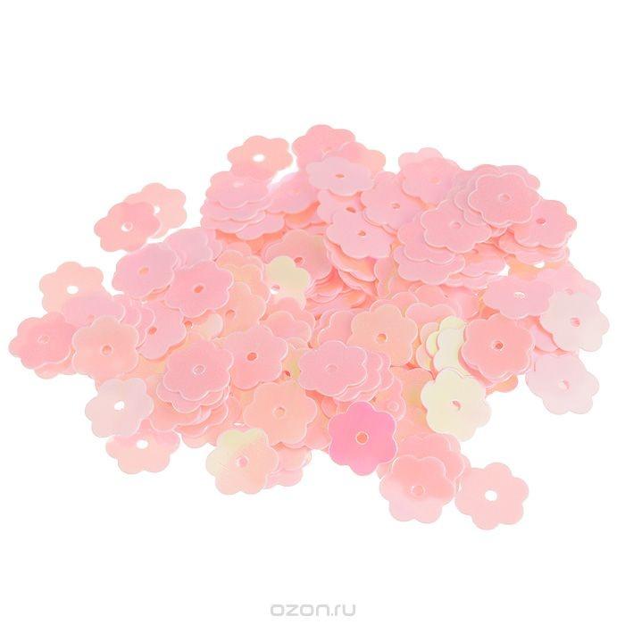 Пайетки Астра (цветочки), с перламутром, розовые (30)