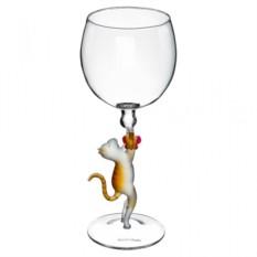 Бокал для вина Кошка с бабочкой
