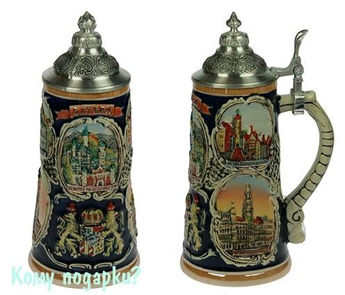 Пивная кружка коллекционная с крышкой «Замки Баварии»