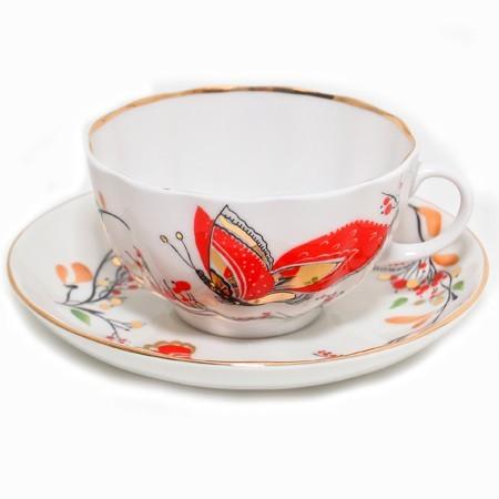 Сервиз чайный, форма Тюльпан, рисунок Бабочки