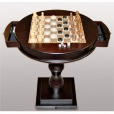 Круглый шахматный стол с ящичками