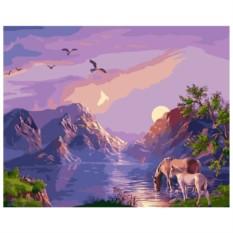 Картина-раскраска по номерам на холсте На водопое