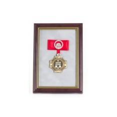 Орден в багете Золотой дедушка! (красный бант, стразы)