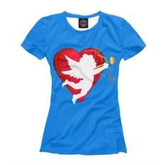 Синяя женская футболка Валентинка