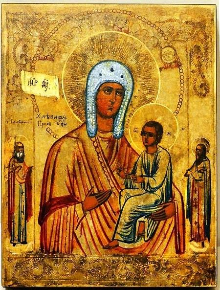 Хлебная (Запечная) икона Божьей Матери на дереве