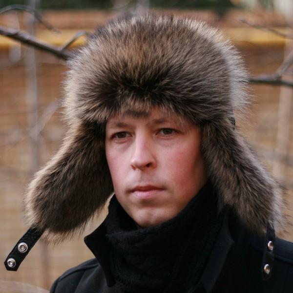 Шапка-ушанка Хантер из меха енота