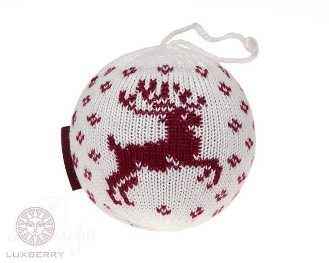 Декоративный шар Олень, белый-бордо