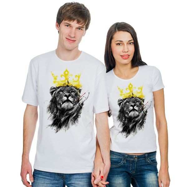 Парные футболки Лев в желтой короне