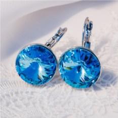 Серьги с голубыми кристаллами Сваровски Чародейка