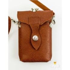 Фляга на 9 унций в коричневой кожаной сумке