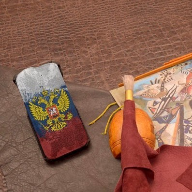 Кожаный чехол-флип для iPhone 6S/6 Герб и Флаг РФ