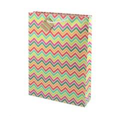 Бумажный ламинированный пакет Разноцветный зигзаг