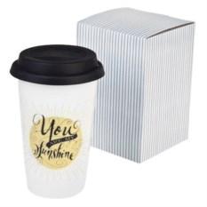 Керамический стакан для чая и кофе с крышкой Мое солнце