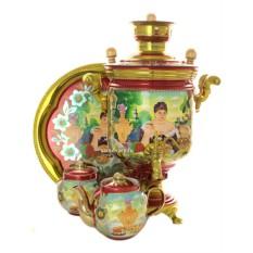 Набор с комбинированным самоваром на 5 литров, с росписью