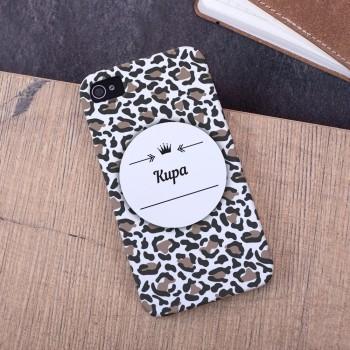 Именной чехол для iPhone Леопард