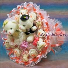 Букет из игрушек Изящная свадьба персикового цвета